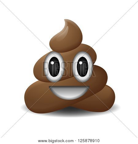 Shit icon, smiling face, symbol, emoji, vector illustration.