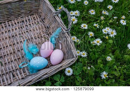 Painted Easter Eggs With Feathering In Wicker Basket