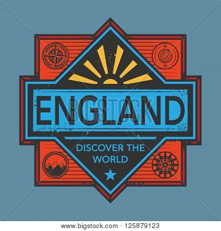Stamp or vintage emblem with text England, Discover the World, vector illustration