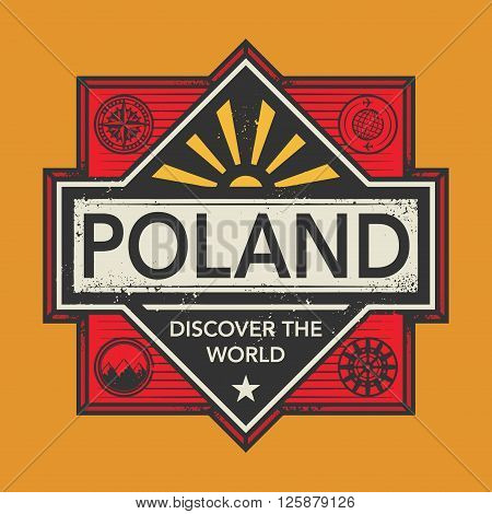 Stamp or vintage emblem with text Poland, Discover the World, vector illustration