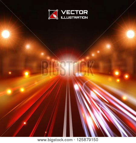 Red tint night road with glowing lights bokeh and speed lines