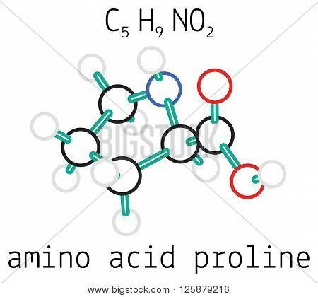 C5H9NO2 proline 3d amino acid molecule isolated on white
