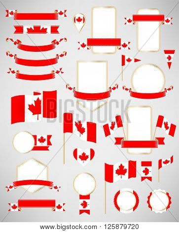 Banners labels ribbons icons badges and other vector design element with flag of Canada