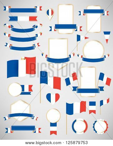 Banners labels ribbons icons badges and other vector design element with flag of France