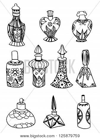 Set of simple isolated zentangle perfume bottles. Vector illustration