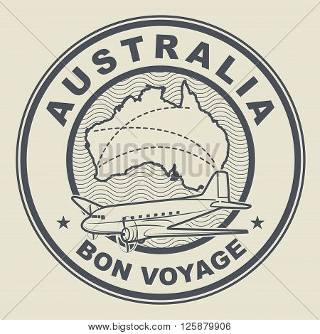 Air mail or travel stamp Australia theme, vector illustration