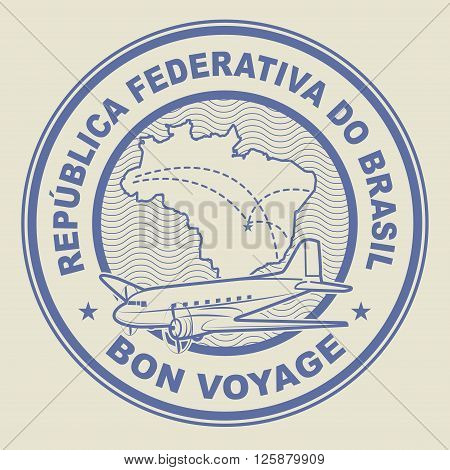 Air mail or travel stamp Brazil theme, vector illustration