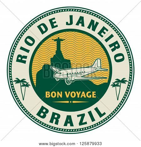 Air mail or travel stamp Rio de Janeiro, Brazil theme, vector illustration