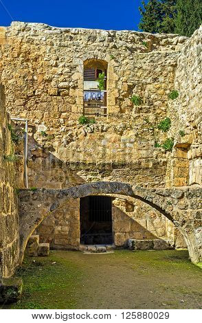 The ruins of Byzantine Basilica is the part of the Bethesda Pool archaeological site located next to the Lions' Gate Jerusalem Israel.