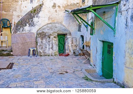 JERUSALEM ISRAEL - FEBRUARY 16 2016: The old yard of the Ethiopian Monastery located on the roof of the Church of the Holy Sepulchre on February 16 in Jerusalem.