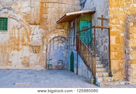 The entrance to the Ethiopian Monastery located on the roof of the Church of the Holy Sepulchre Jerusalem Israel.