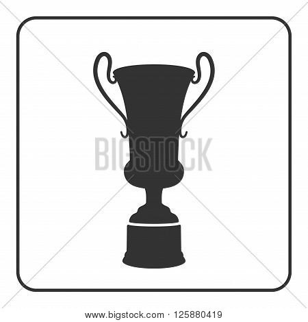 Trophy cup icon. Award sport trophy. Symbol of winner competition reward and champion best prize. Victory emblem. Gray sign in frame on white background. Isolated design element Vector illustration