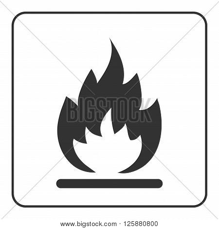 Fire icon. Hot flame sign. Black abstract silhouette isolated on white background. Drawing graphic element. Symbol burn danger blaze. Simple emblem. Flat design concept trendy. Vector illustration.