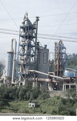 Cement Factory By A River, Sichuan Province, China