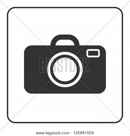 Photo camera icon. Black modern sign isolated on white background. Symbol image equipment photographic picture photographer photographing. Graphic pictogram. Simple flat design Vector illustration