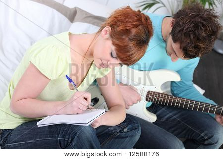 Portrait of a couple composing a song
