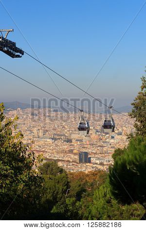 Aerial Gondola Lift With Cable Car And Barcelona Cityscape Panorama Seen From Montjuic, Spain