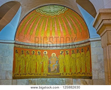 JERUSALEM ISRAEL - FEBRUARY 16 2016: The altar in crypt of the Dormition Church shows the Virgin Mary and Jesus' Apostles on February 16 in Jerusalem.