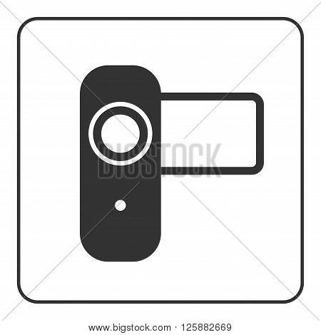 Video camera icon. Black modern sign isolated on white background. Symbol of movie film media and cinema recording production. Television industry graphic. Simple flat design. Vector illustration