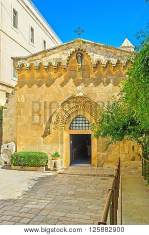 The Church of the Flagellation is one of the stations of Via Dolorosa on the path of Jesus to the crusifixion Jerusalem Israel.