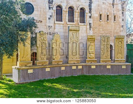 JERUSALEM ISRAEL - FEBRUARY 16 2016: The Armenian cross-stones (Khachkars) in front of the Armenian Patriarchate's seminary on February 16 in Jerusalem