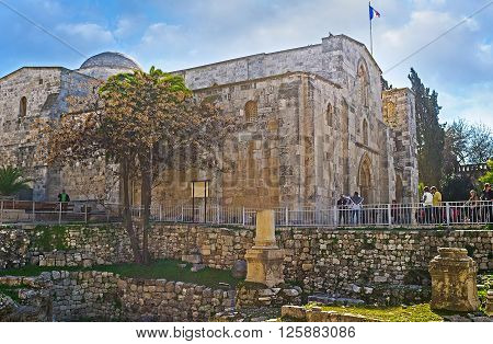 JERUSALEM ISRAEL - FEBRUARY 16 2016: The cultural layer of the Byzantine Temple is much lower than the St Anne's Church preserved since the early Crusader period on February 16 in Jerusalem Israel.