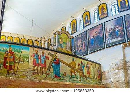 JERUSALEM ISRAEL - FEBRUARY 16 2016: The Russian Excavations located inside of the Orthodox church of Alexander Nevsky on February 16 in Jerusalem.