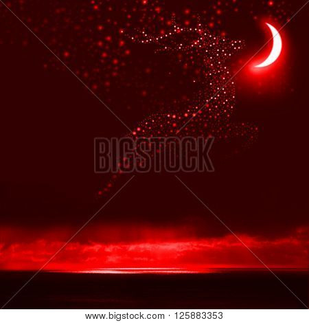 Night Sky Reindeer Bright Stars Galaxy and Moon