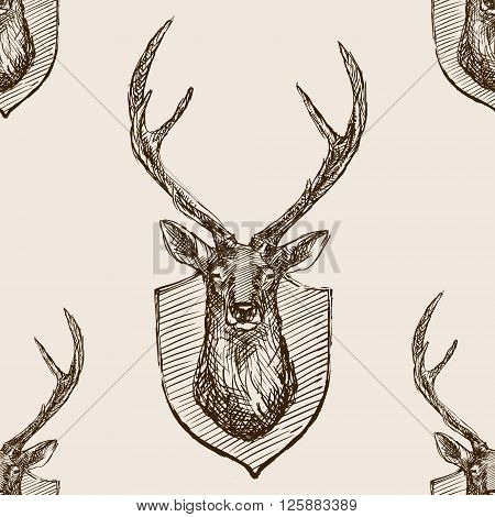 Deer head trophy sketch style seamless pattern vector illustration. Deer head trophy old hand drawn engraving imitation. Vintage object illustration