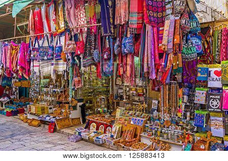JERUSALEM, ISRAEL - FEBRUARY 18, 2016: The souvenir shop with the wide range of the tourist goods on each taste , on February 18 in Jerusalem.