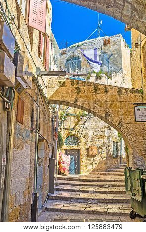 JERUSALEM ISRAEL - FEBRUARY 16 2016: The best way to discover the old city is to get lost in the maze of its streets and then find your way on February 16 in Jerusalem.