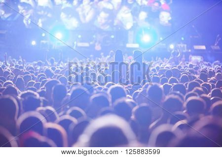 NOVI SAD - JULY 11 : CROWD IN FRONT OF THE MAIN STAGE AT EXIT 2015 MUSIC FESTIVAL DURING MANU CHAO BAND, JULY 11 2015 IN NOVI SAD PETROVARADIN FORTRESS SERBIA