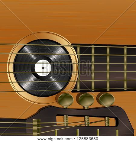 Vector illustration of musical background acoustic guitar close-up with vinyl records. There is room to place text or an image.