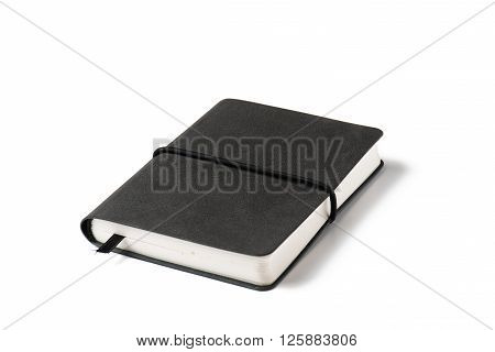 black note book isolated on white background.