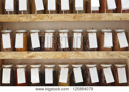 Shop with spices weight .Spices on the shelf.