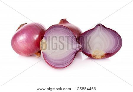 whloe and half cut red onion shallots on white background