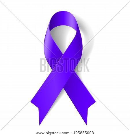 Purple ribbon as symbol of general cancer awareness drug overdose domestic violence Alzheimer disease