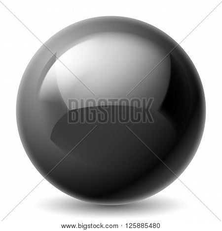 Black metallic sphere isolated on white background