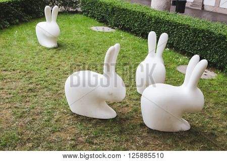 Rabbits On Display At Fuorisalone 2016 In Milan, Italy