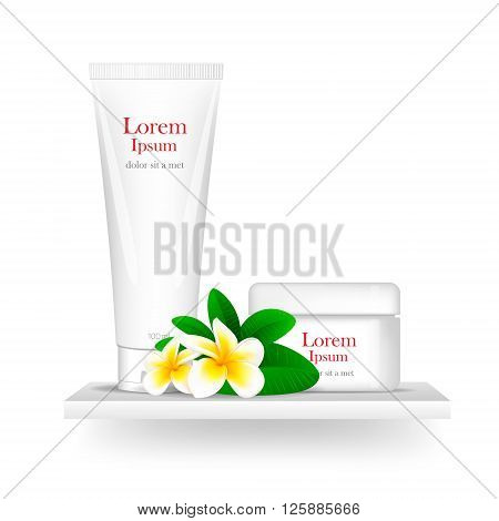 blank cosmetic white package, mock-up. isolated on white background. Frangipani