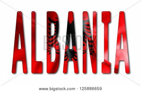 Albania word with a beveled flag texture on an isolated white background with a clipping path with and without shadows