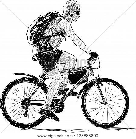 Vector drawing of an young man reads on a bike.