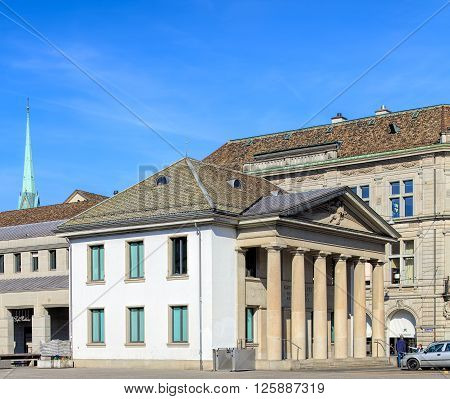 Zurich, Switzerland - 10 April, 2016: the Rathaus police station (German: Rathausposten) building. Rathaus police station is located opposite the town hall of Zurich, the building has been used as a police station since 1798.