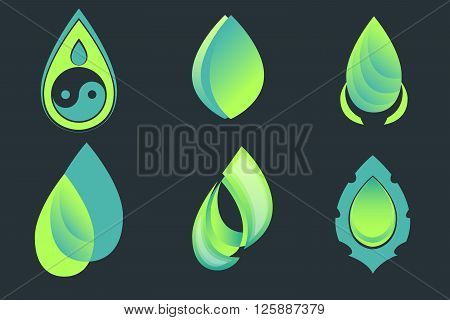 Set of drop and leaf vector icons on dark background. Yin and yang symbol within a drop, gradient leaves sign, tiara with drop logo, water symbol, tear label.