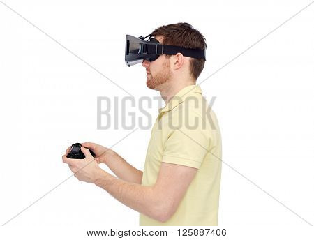 3d technology, virtual reality, entertainment and people concept - happy young man with virtual reality headset or 3d glasses playing with game controller gamepad
