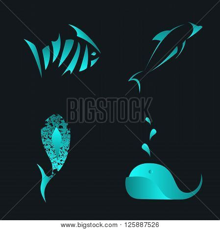 Set of fish, whale and dolphin abstract vector icon and logo templates. Sea vector design element on dark background. Seafood shop, restaurant and cafe logo. Editable.