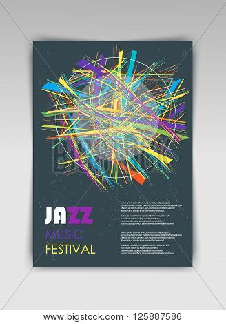 Music abstract background vector template with geometric structures. Concept of music jazz festival poster or a flyer on black background.