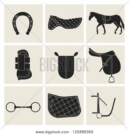 Collection of flat black icons of equipment for horse. Saddle horse shoes bridle snaffle sweat cloth gel foot protection.