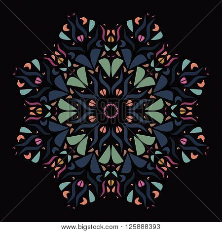 Vector illustration of decorative mandala with pale orange green dark grayish blue and pink pieces on black background. EPS 10.