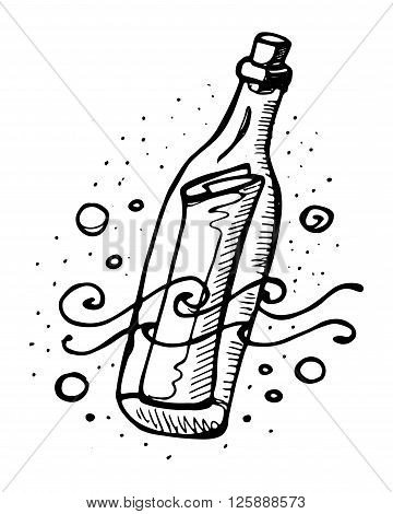 Hand drawn vector illustration or drawing of a message in a bottle